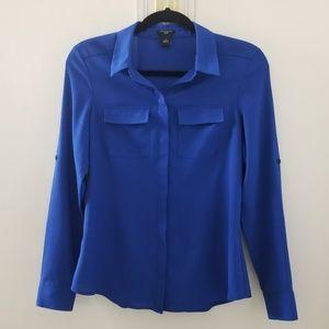 Ann Taylor Petite Blue Blouse Button Up Collar